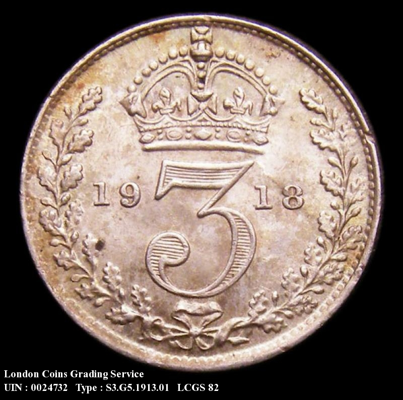 Silver 3d 1913 George V. Standard type - Reverse