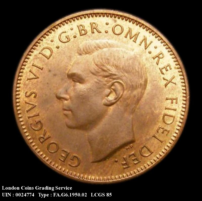 Farthing 1950 George VI. Dies 2+A  Proof - Obverse