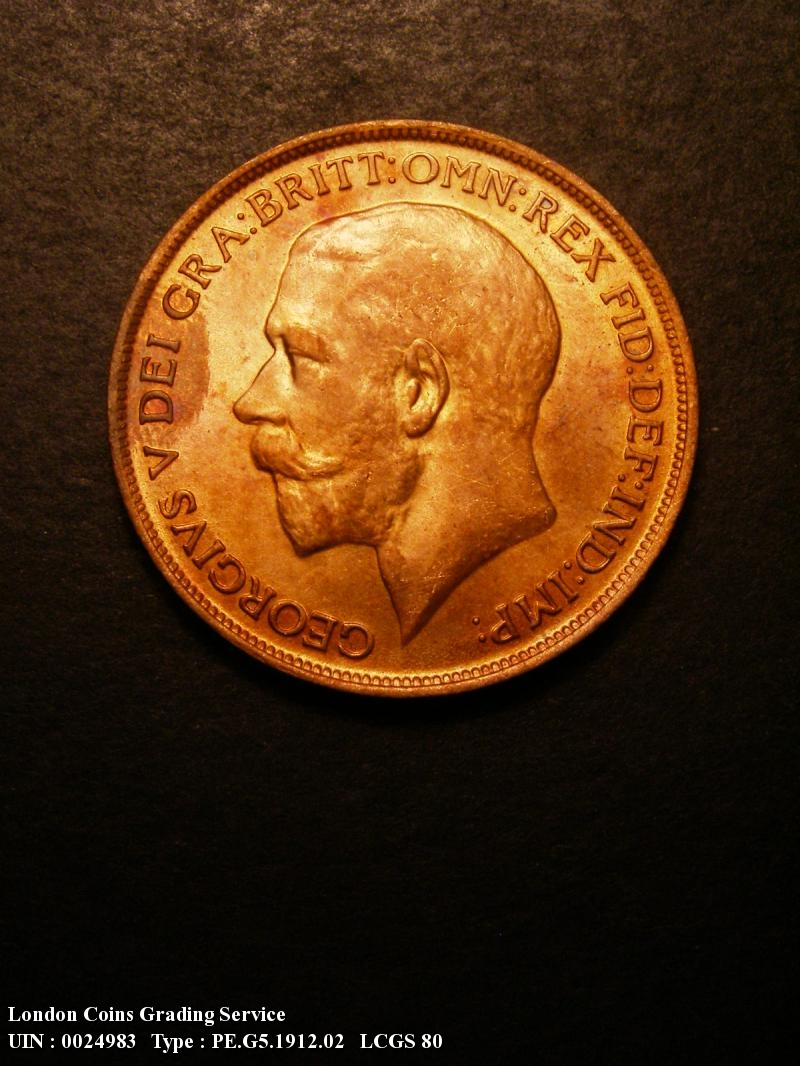 Penny 1912 George V. dies 1+A Heaton Mint H left of date - Obverse
