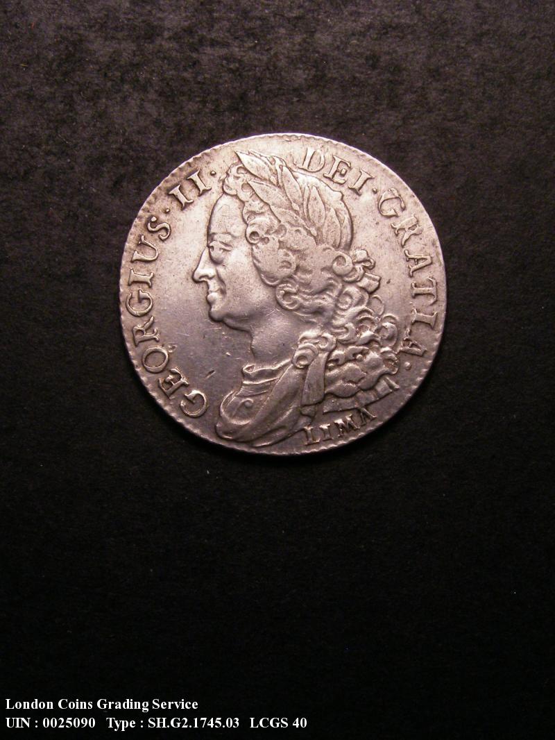 Shilling 1745 George II. LIMA - Obverse
