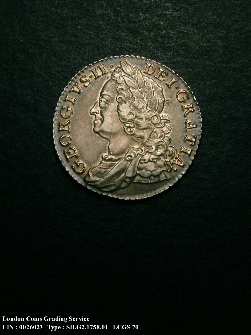 Shilling 1758 George II. Standard type - Obverse