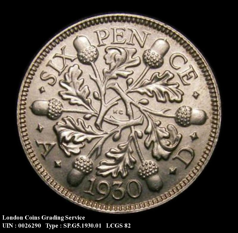 Sixpence 1930 George V. Standard type - Reverse