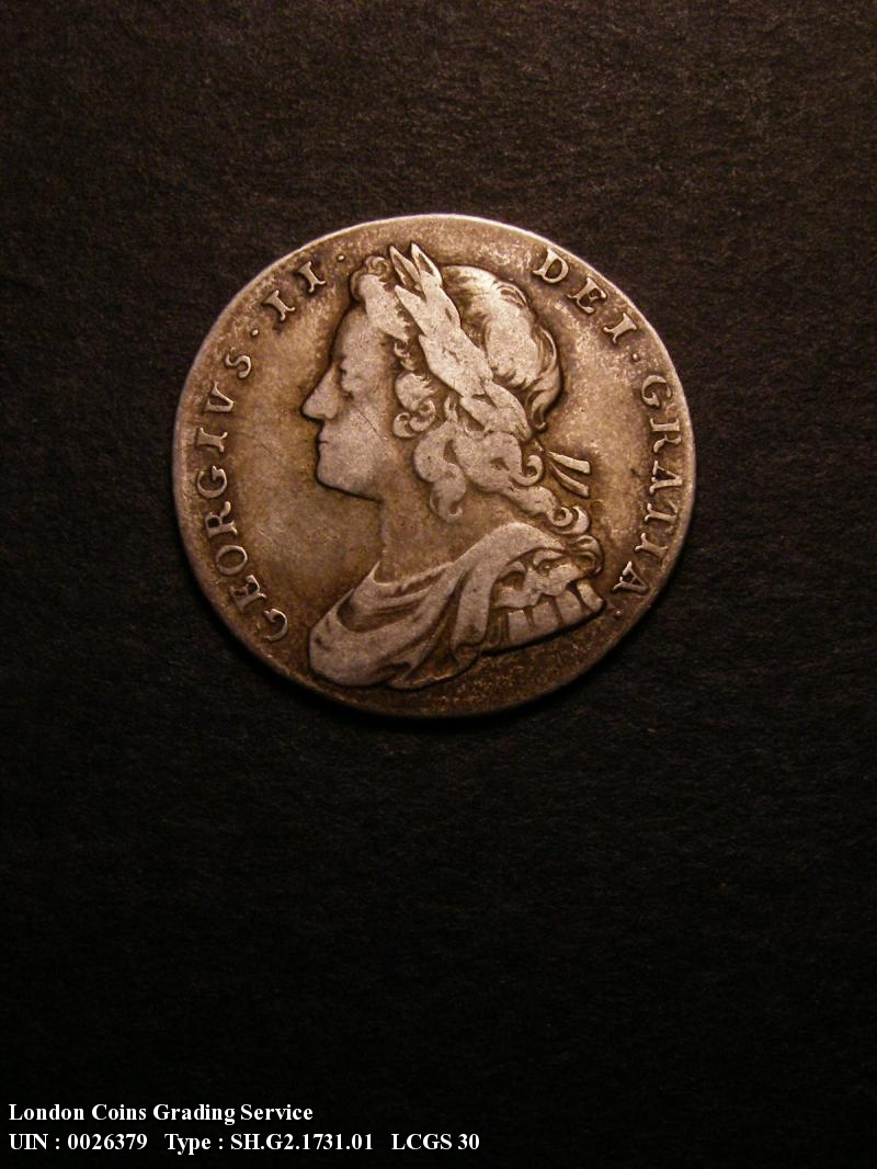 Shilling 1731 George II. Roses and Plumes - Obverse