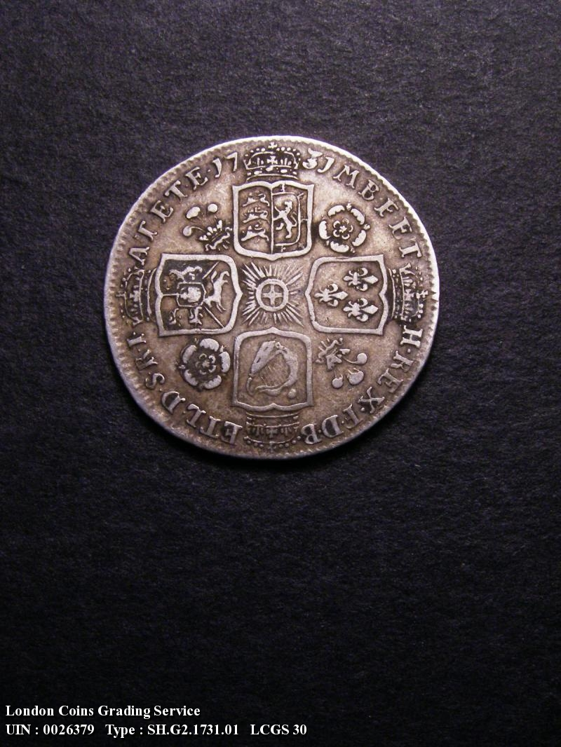 Shilling 1731 George II. Roses and Plumes - Reverse
