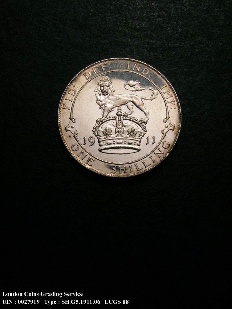 Shilling 1911 George V. dies 3A Obv I of GEORGIVS to bead Full Neck Proof - Reverse