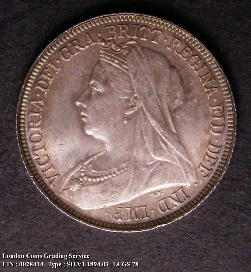 Shilling 1894 Victoria. Dies 2A. Large Letters on Obverse  Reverse L.H.Cross points to a space. - Obverse