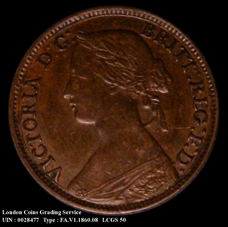 Farthing 1860 Victoria. Mule. Toothed Border Obverse (4 Berries)/ Beaded Border Reverse - Obverse