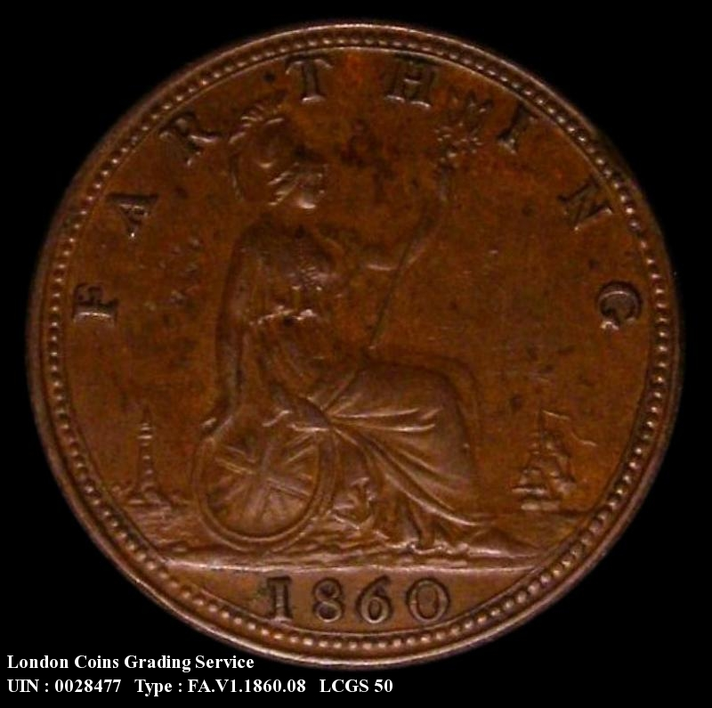 Farthing 1860 Victoria. Mule. Toothed Border Obverse (4 Berries)/ Beaded Border Reverse - Reverse
