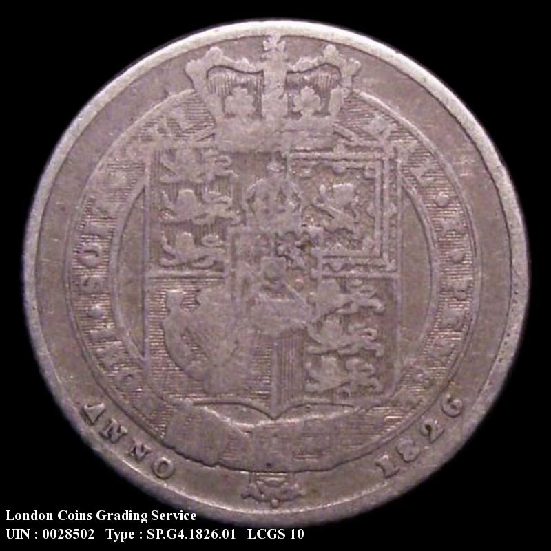 Sixpence 1826 George IV. Laureate Head, Shield Reverse - Reverse
