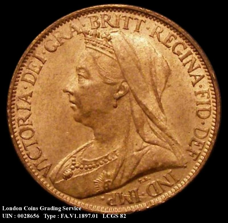 Farthing 1897 Victoria. Dies 1+A. Bright Finish - Obverse