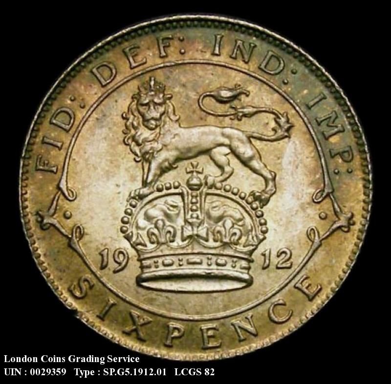 Sixpence 1912 George V. Standard type - Reverse