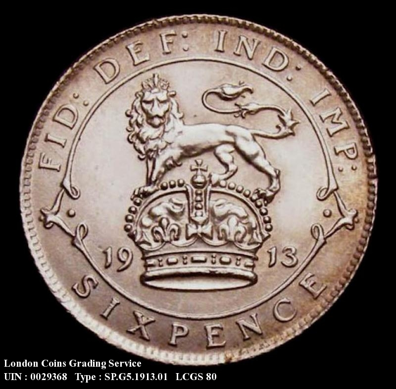 Sixpence 1913 George V. Standard type - Reverse