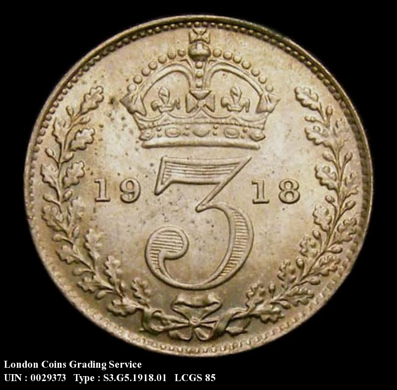 Silver 3d 1918 George V. Standard type - Reverse