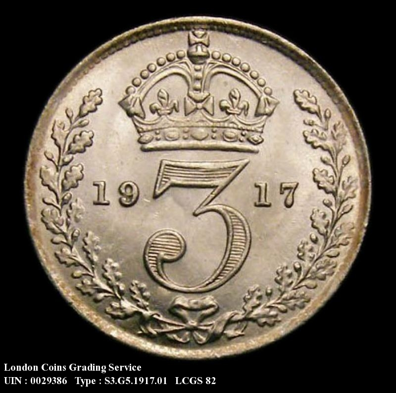 Silver 3d 1917 George V. Standard type - Reverse