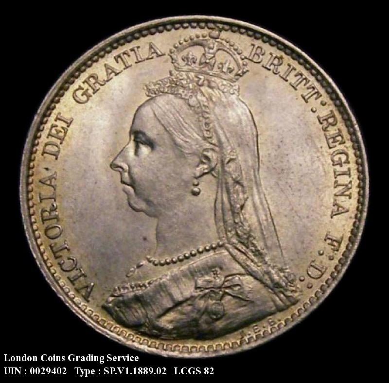 Sixpence 1889 Victoria. Dies 1D Reverse D Leaf to right of date almost covers another leaf - Obverse