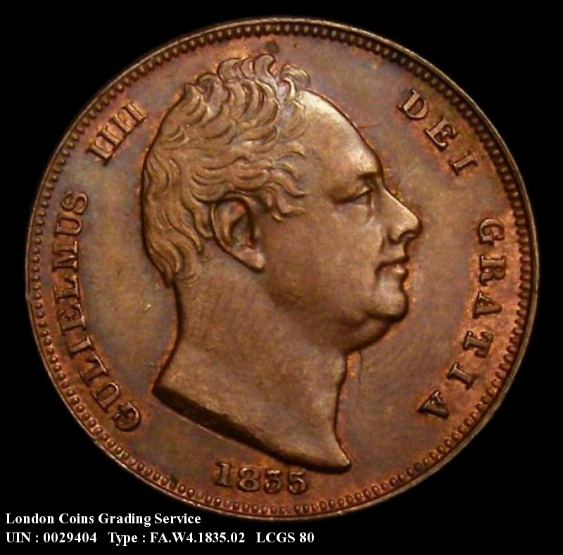 Farthing 1835 William IV. Reverse B. Raised Line on Saltire - Obverse