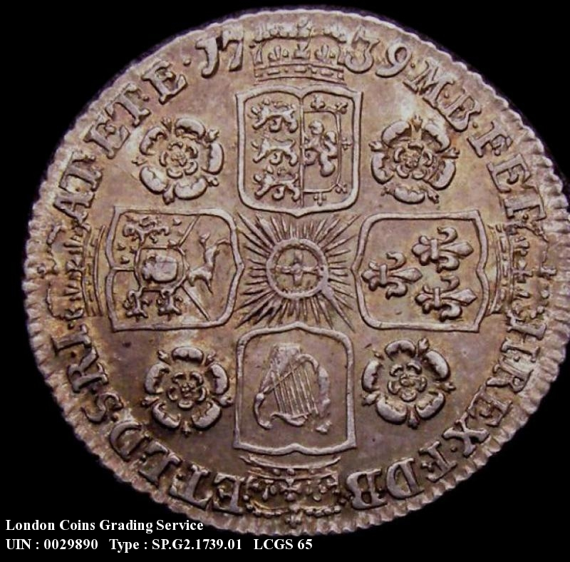 Sixpence 1739 George II. Roses in angles - Reverse