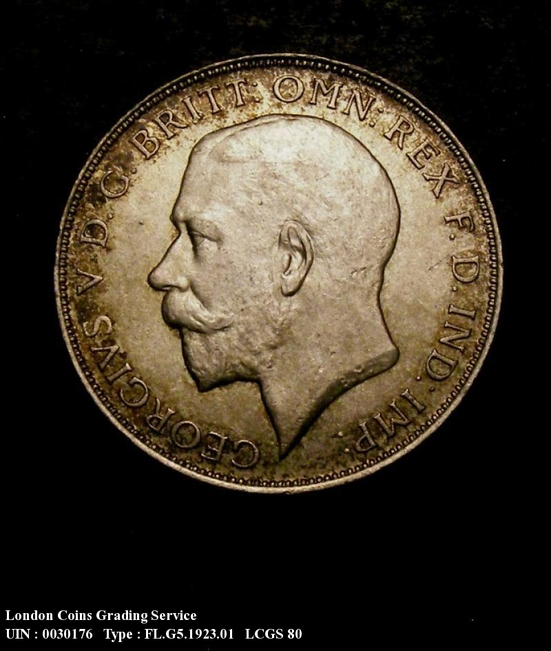 Florin 1923 George V. Dies 3E. Obverse I of GEORGIVS points left of a bead (Full neck) Reverse L of FLORIN points to a bead. - Obverse