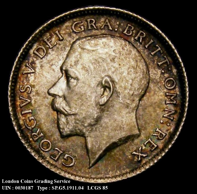 Sixpence 1911 George V. Dies 2B. I of BRITT to Bead  Colon of FID to space. - Obverse