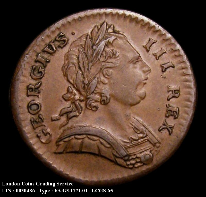 Farthing 1771 George III. Reverse A:- Olive Branch points to right hand limb of the first N in BRITANNIA. (Rarest of the three reverse die types). Also with Short first 7 over longer 7. (As Cooke 365) - Obverse