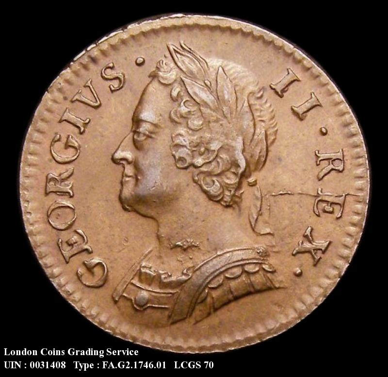 Farthing 1746 George II. Standard type - Obverse