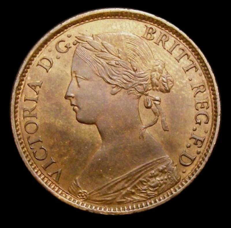 Farthing 1860 Victoria. Toothed Border. Dies 2+B. 4 Berries - Obverse