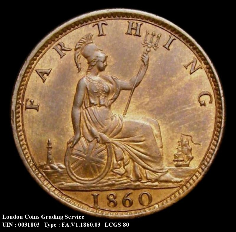 Farthing 1860 Victoria. Toothed Border. Dies 2+B. 4 Berries - Reverse
