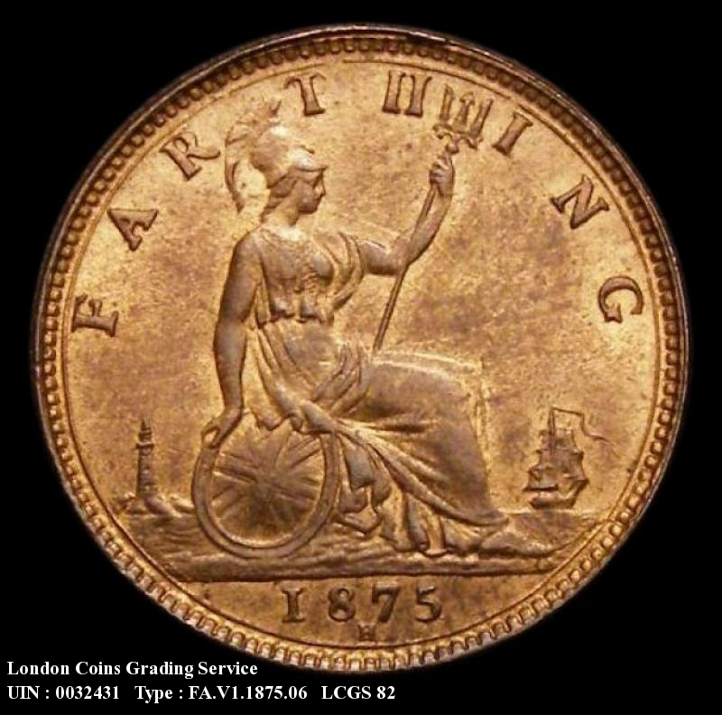Farthing 1875 Victoria. H. 4 Berries. Small Date. REG complete - Reverse