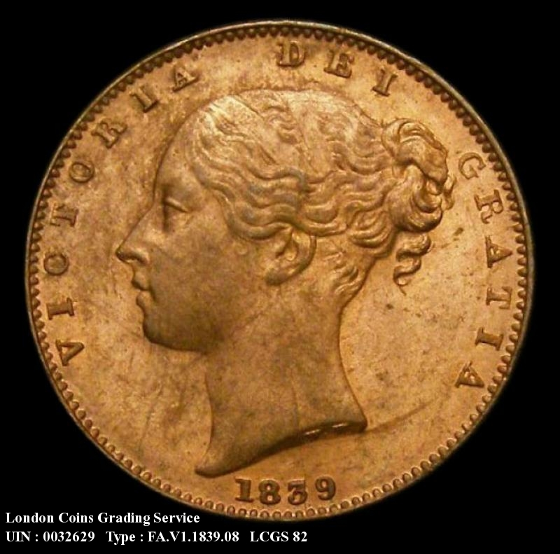 Farthing 1839 Victoria. Two Pronged Trident, also with FID.DEF - Obverse