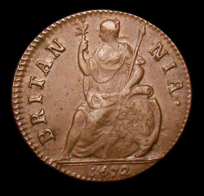 Farthing 1672 Charles II. Standard type - Reverse