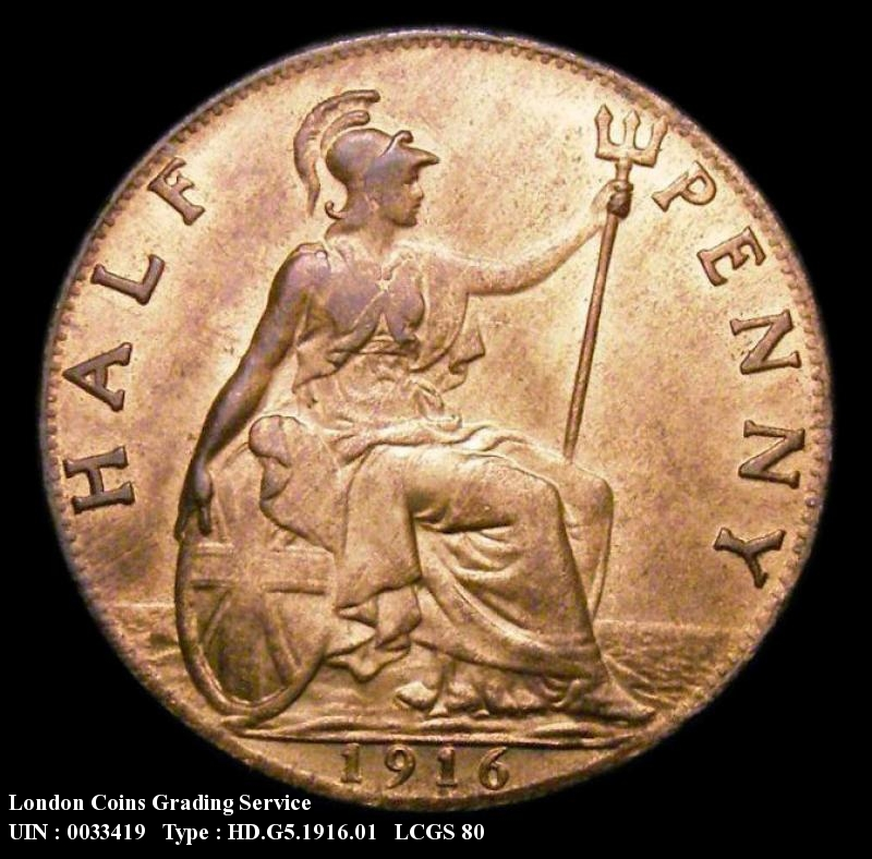 Halfpenny 1916 George V. Dies 1+A - Reverse