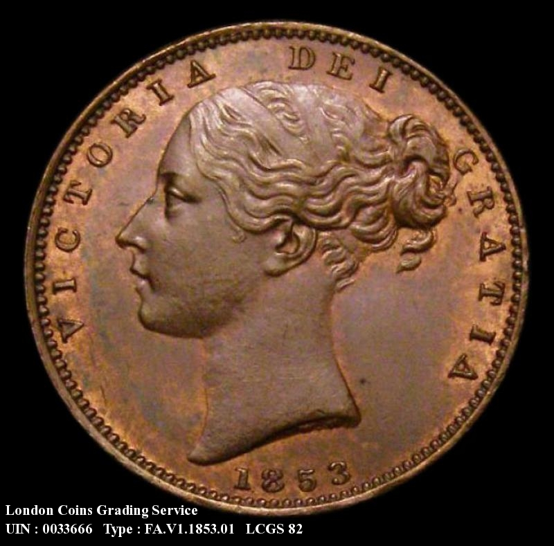 Farthing 1853 Victoria. WW Raised - Obverse