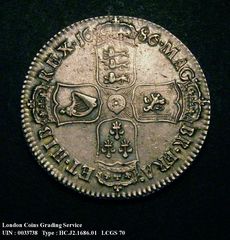Halfcrown 1686 James II. SECVNDO edge - Reverse
