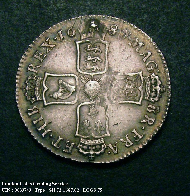 Shilling 1687 James II. 7 over 6 - Reverse