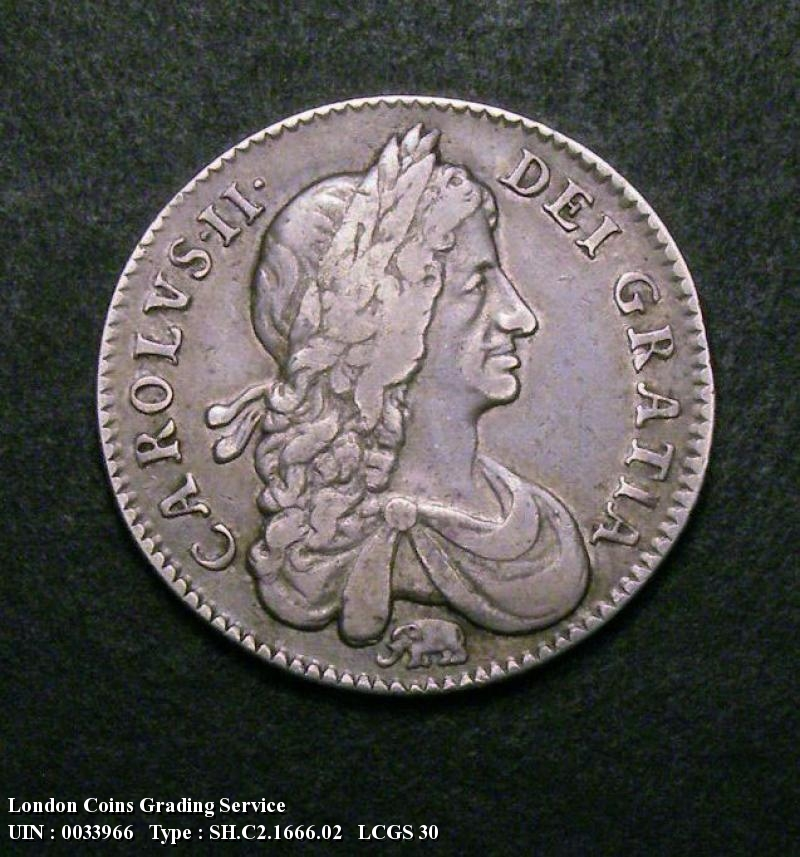 Shilling 1666 Charles II. First Bust Variety, Elephant below bust - Obverse