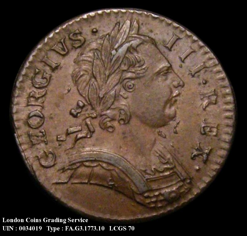 Farthing 1773 George III. Obverse 1. Both 7's over lower 7's in date. - Obverse