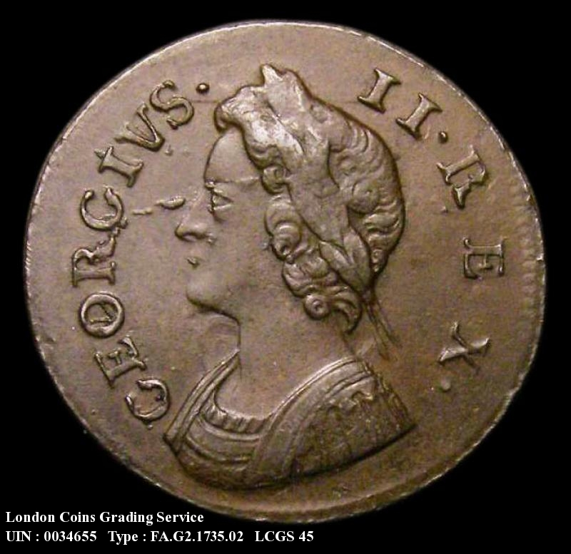 Farthing 1735 George II. 3 over 3 in date (previously thought to be 3 over 5).