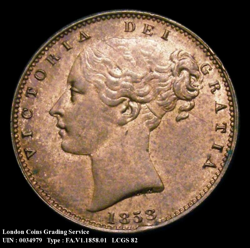 Farthing 1858 Victoria. Large Date - Obverse