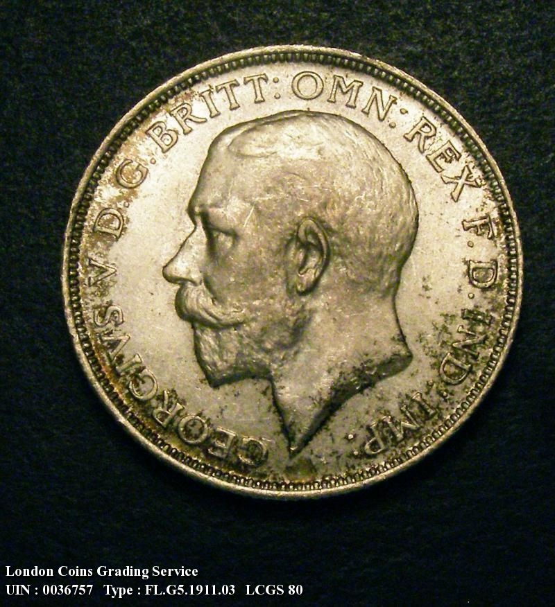 Florin 1911 George V. Dies 2A . I of GEORGIVS to space. Full neck - Obverse