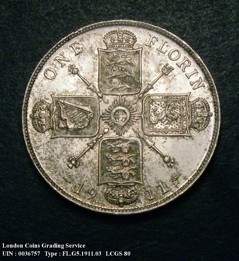 Florin 1911 George V. Dies 2A . I of GEORGIVS to space. Full neck - Reverse
