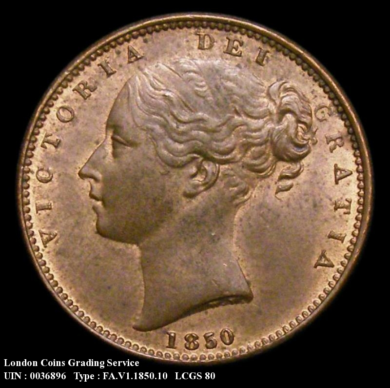 Farthing 1850 Victoria. 5 over 7.