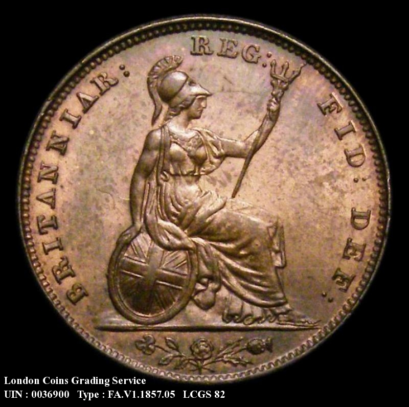 Farthing 1857 Victoria. Unbarred A's in BRITANNIAR. - Reverse