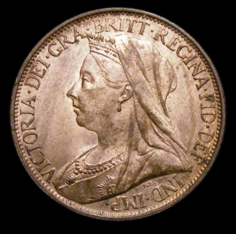 Farthing 1895 Victoria. Veiled Head dies 1+A - Obverse