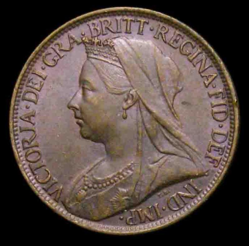 Farthing 1901 Victoria. Dies 1+A - Obverse