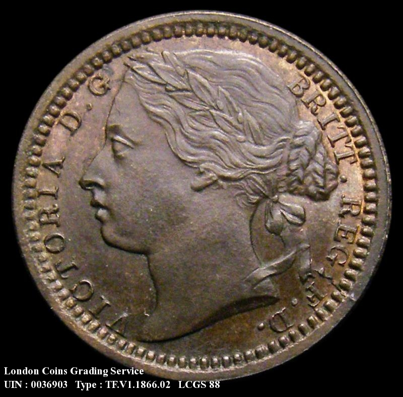 Third Farthing 1866 Victoria. Bronze Proof - Obverse