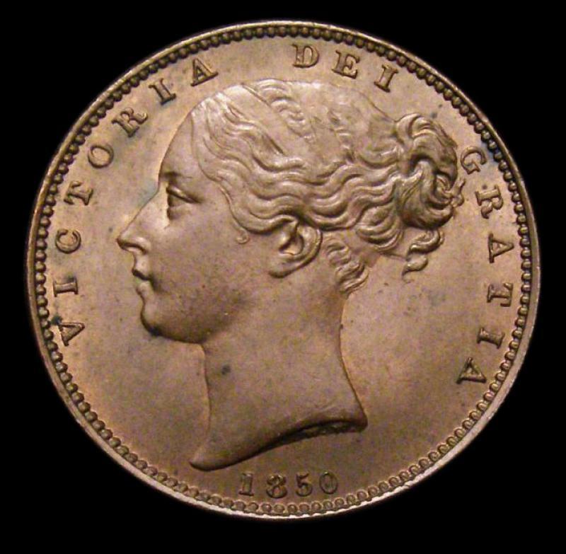 Farthing 1850 Victoria. Standard type - Obverse