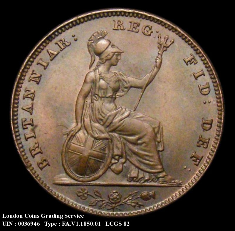 Farthing 1850 Victoria. Standard type - Reverse