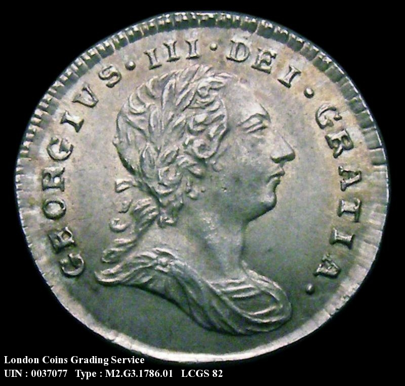 Maundy 2d 1786 George III. Standard type - Obverse