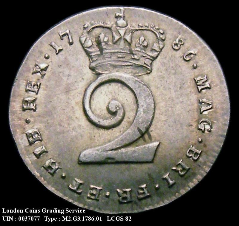 Maundy 2d 1786 George III. Standard type - Reverse