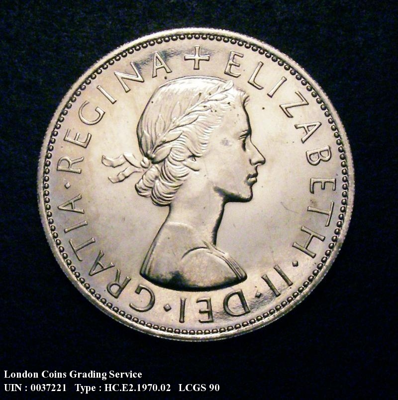 Halfcrown 1970 Elizabeth II. Proof. Dies 2C Obverse I of GRATIA points to a bead. Reverse D of DEF points to a bead and E of DEF points to a bead. - Obverse